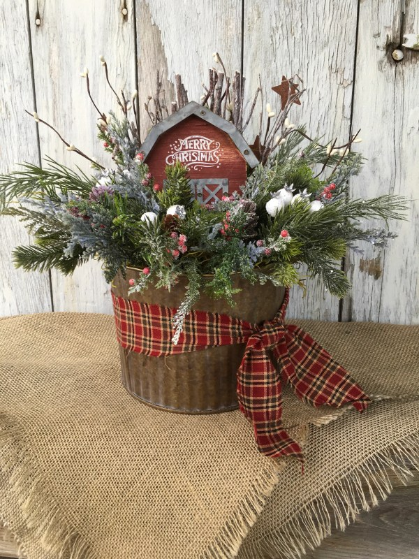 Galvanized Tin with Merry Christmas Barn Primitive Christmas