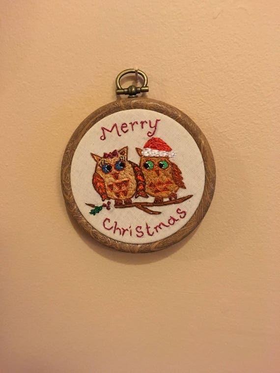 Hand Embroidered Christmas Owls