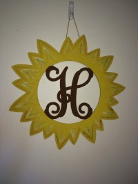 Sunflower Door Hanger Monogrammed Personalized