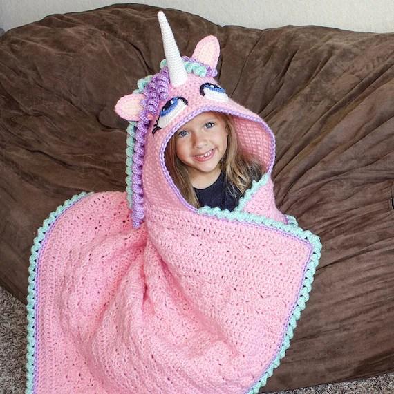 CROCHET PATTERN  Hooded Unicorn Blanket Pattern PDF File