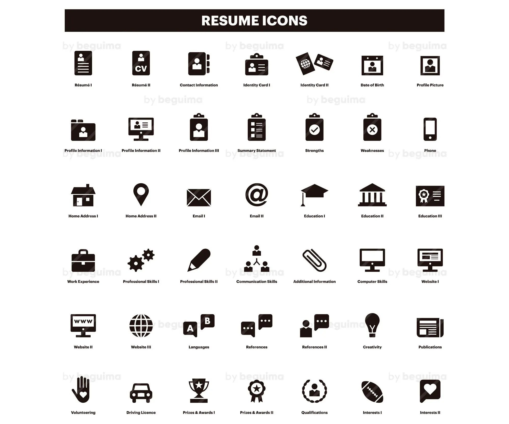 Resume Icons CV Clip Art Curriculum Clipart Set Of Icons Black Solid Glyph Flat Vector File