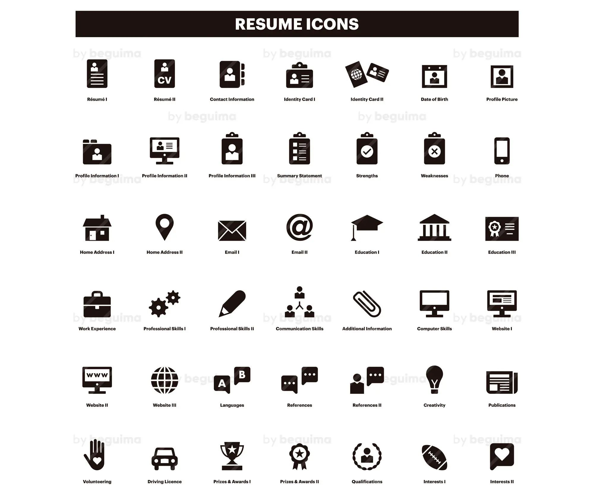 resume hobbies icons