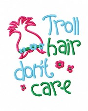 troll hair embroidery design