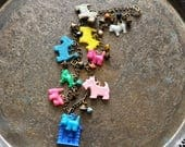 Scottie Dog Whimsy Charm Necklace - Vintage Assemblage
