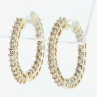 Diamond hoop earring | Etsy
