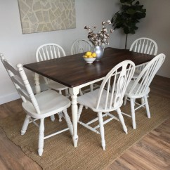 White Distressed Dining Chairs Ergonomic Chair Ebay Kitchen Table Small