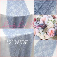 DUSTY BLUE Lace Table Runner/12 wide/3ft-11ft