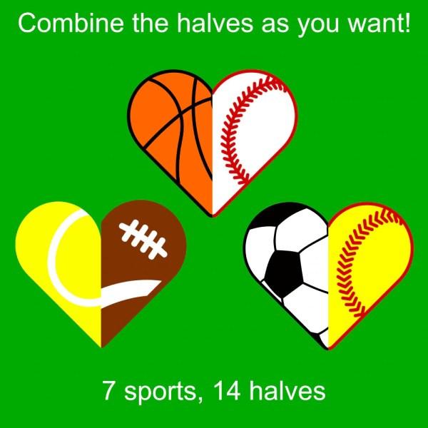 7 Sports Hearts Svg Files Cricut & Silhouette 14
