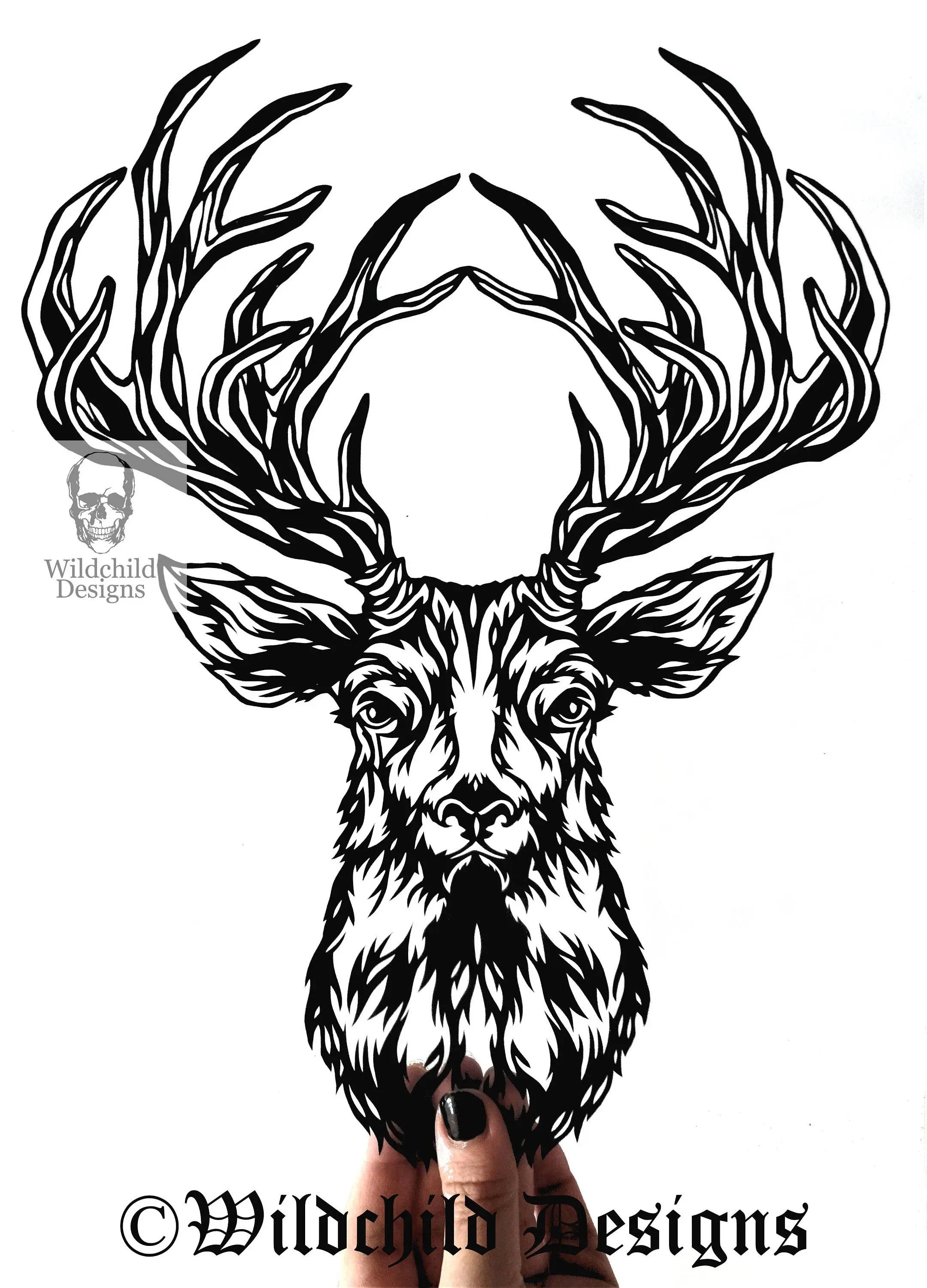 Facing Stag Head Paper Cutting Template for Personal or