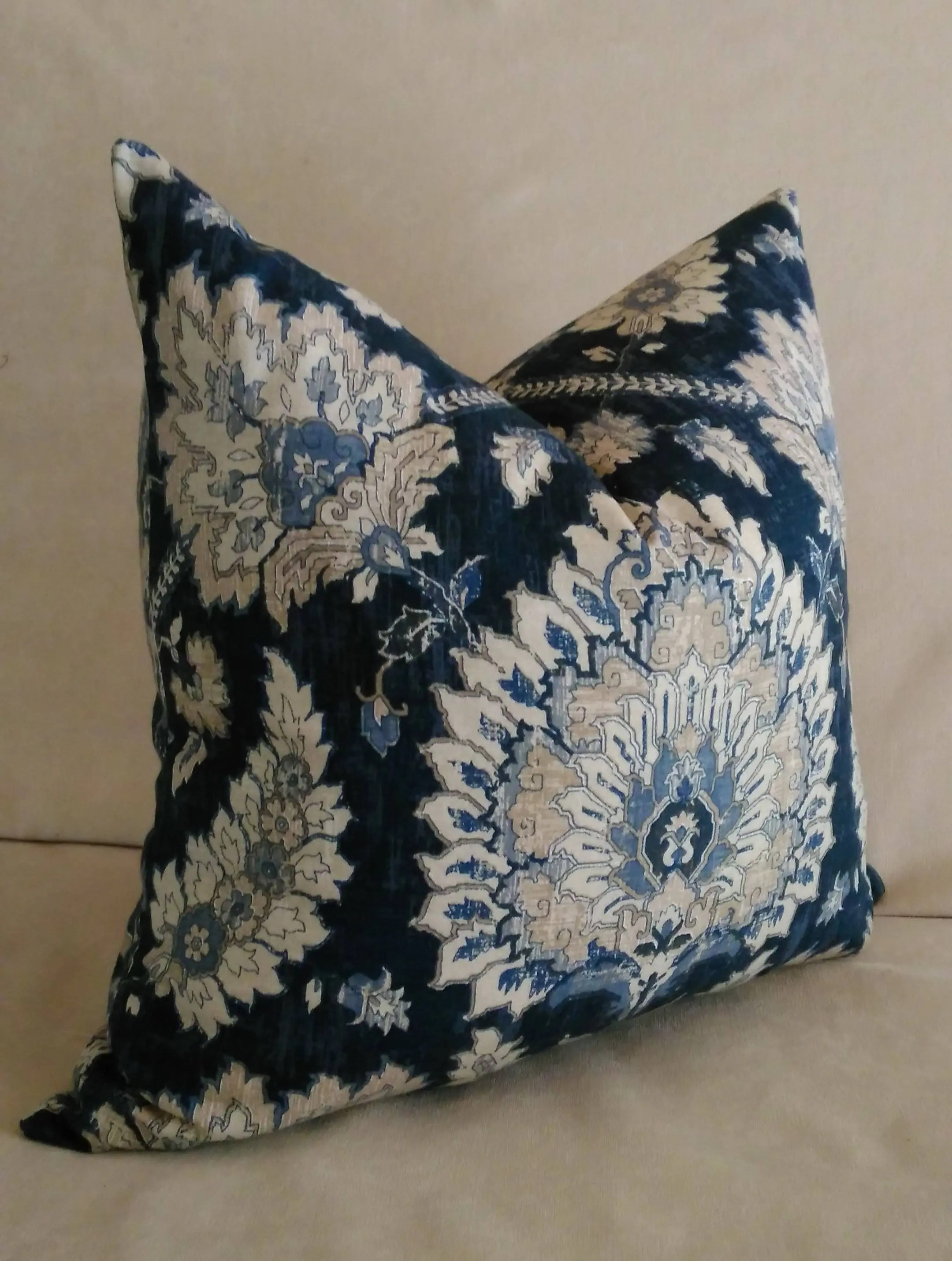 Navy Blue Floral Euro Sham Pillow Cover Jacobean Floral Knife