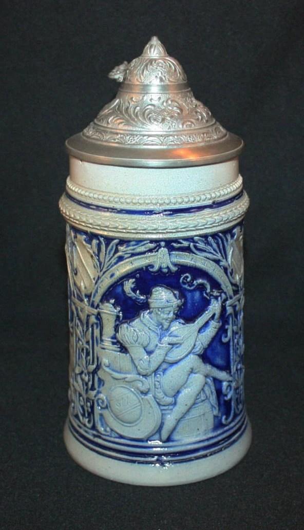 Antique Cobalt Blue Stoneware Beer Stein Lidded Marked