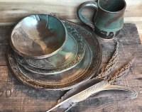 Native Mandala Dinnerware Plate Set Turquoise & Brown