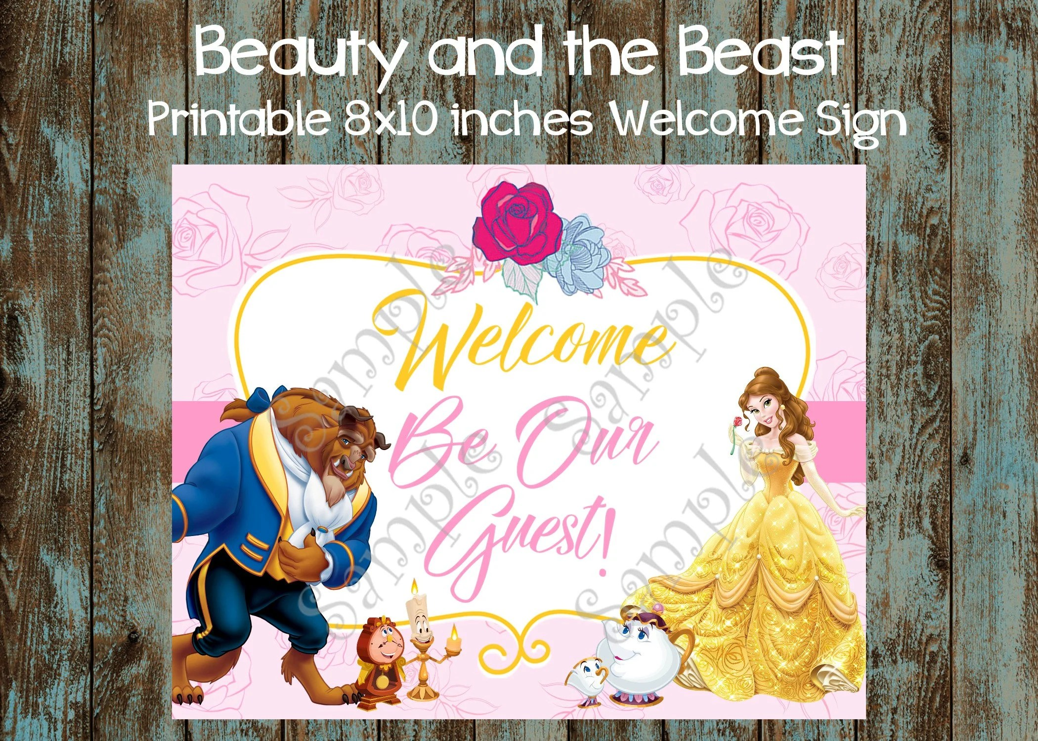 Printable Beauty And The Beast Welcome Sign Belle Birthday