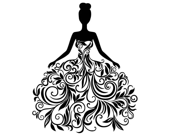 Women In Flower Dress Beautiful Elegant Style Lady Black