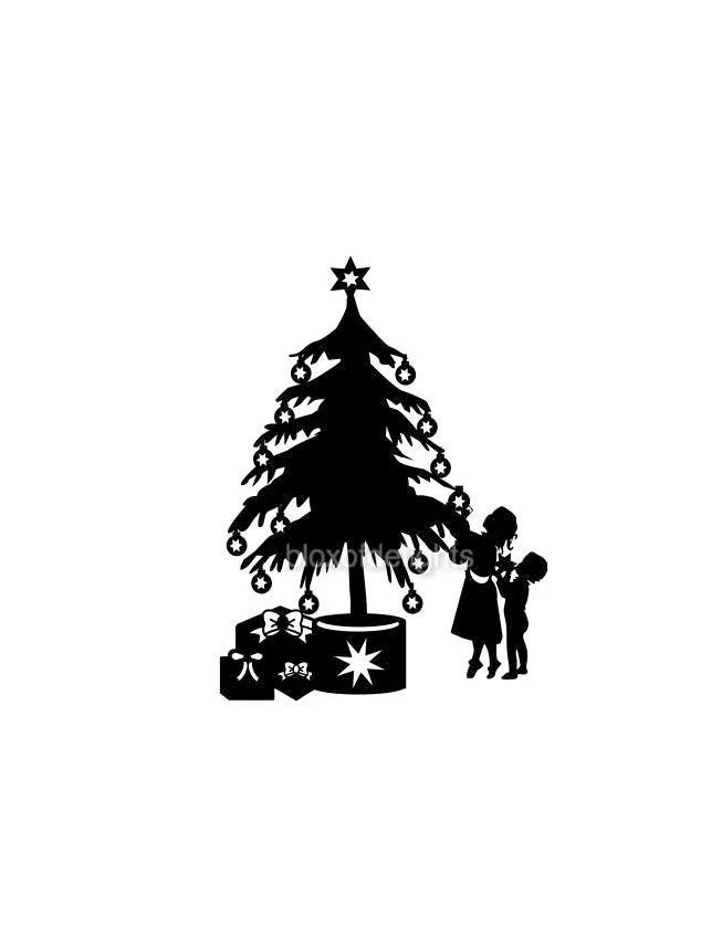 Children decorating a Christmas tree svg for digital download