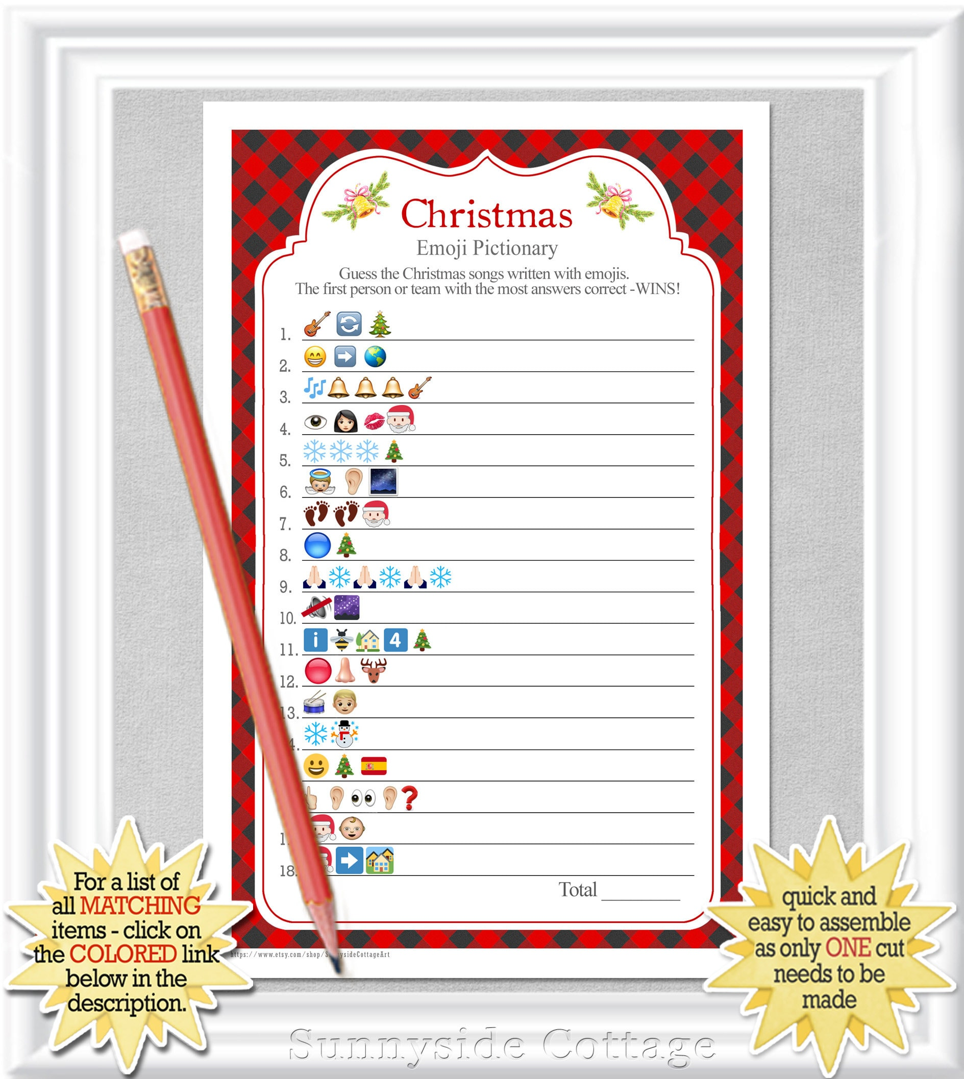 Instant Download Christmas Songs Emoji Pictionary With A Red