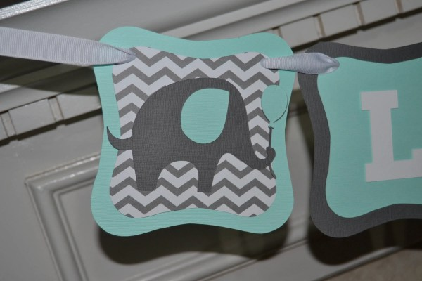 Elephant Mint Baby Shower Banner Personalized Chevron