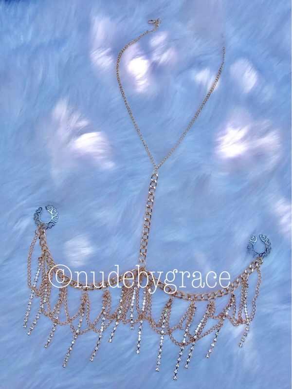 Pierced Nipple Crystal Bralette Jewelry
