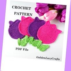 Diagram Crochet Coaster Data Flow Symbols Visio Pattern Tulip Coasters Motif Pdf File