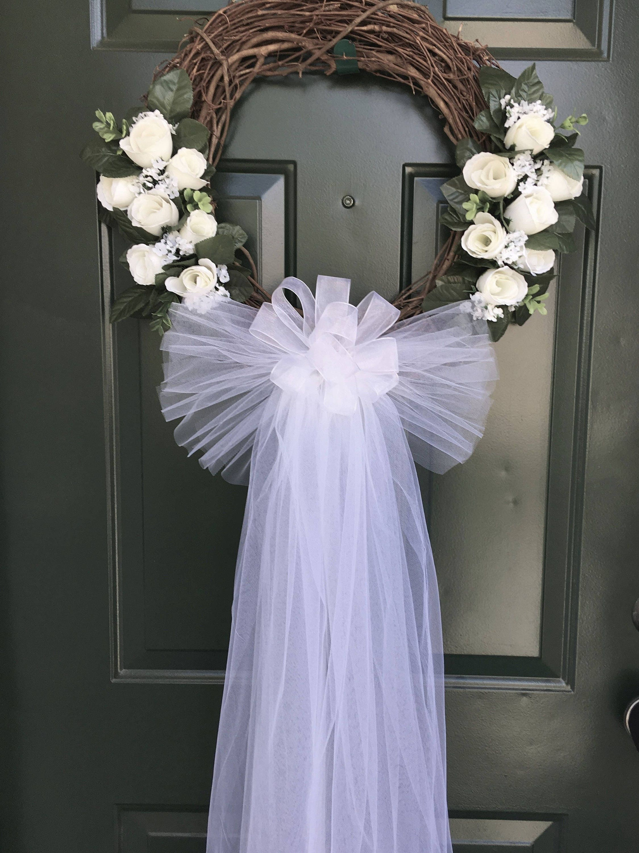 White Rose Wedding Door Wreath Grapevine Wreath Bridal