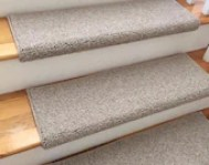 Tweed Linen Taupe Ecco Tex Blend New Zealand Wool TRUE Bullnose™ Carpet Stair Tread Runner Replacement for Style, Comfort&Safety (Sold Each)