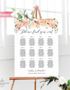 Il xn also printable peach cream floral seating chart board wedding rh catchmyparty