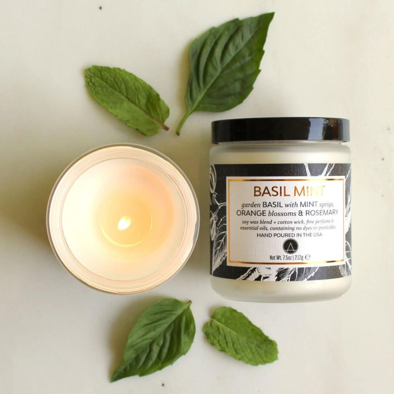 Scented soy candle with basil and mint