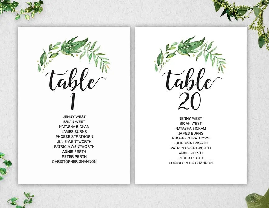 Greenery Table Seating Chart Template 1-20 // INSTANT DOWNLOAD