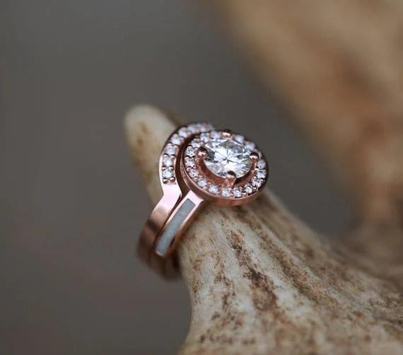 Womens Wedding Ring 1ct Engagement Ring W Elk Antler Inlays