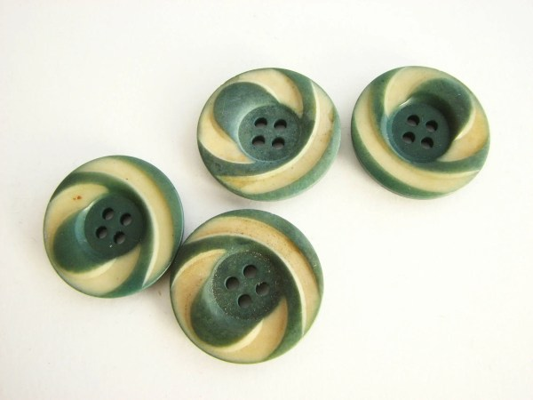 4 Tagua Nut Buttons With Cut Details Flat Vintage