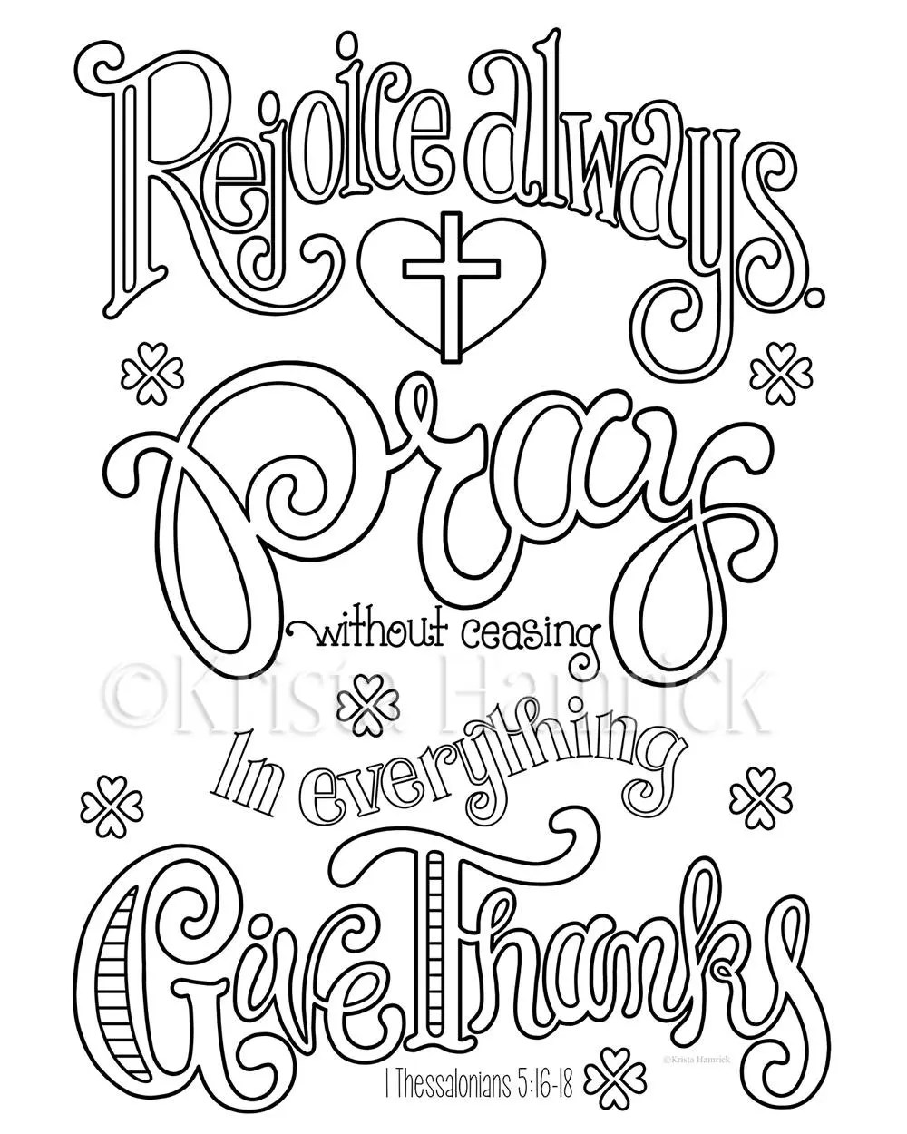 Rejoice Pray Give Thanks coloring page in two sizes: 8.5X11