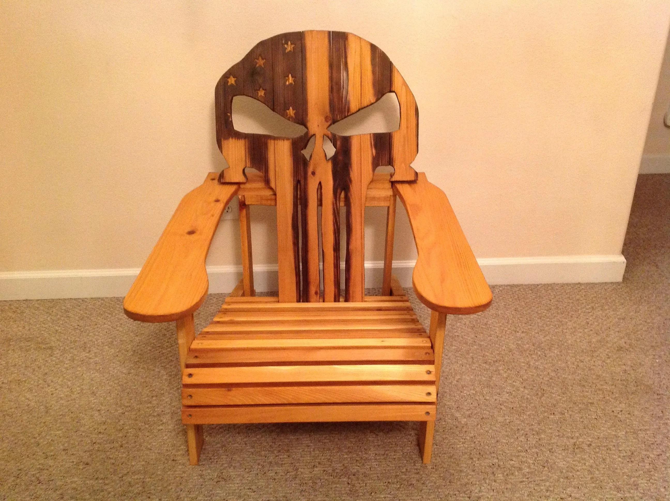 skull adirondack chair plans fishing with accessories custom cedar punisher