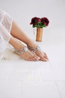 Beach Wedding Barefoot Sandalsbridal Foot Jewelryboho Slave