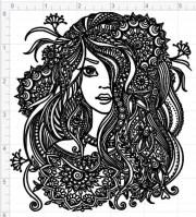 mandala style woman lady svg pdf