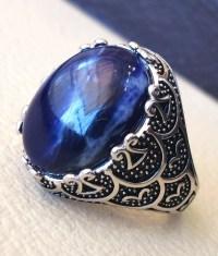 Sodalite natural stone dark royal blue men ring sterling