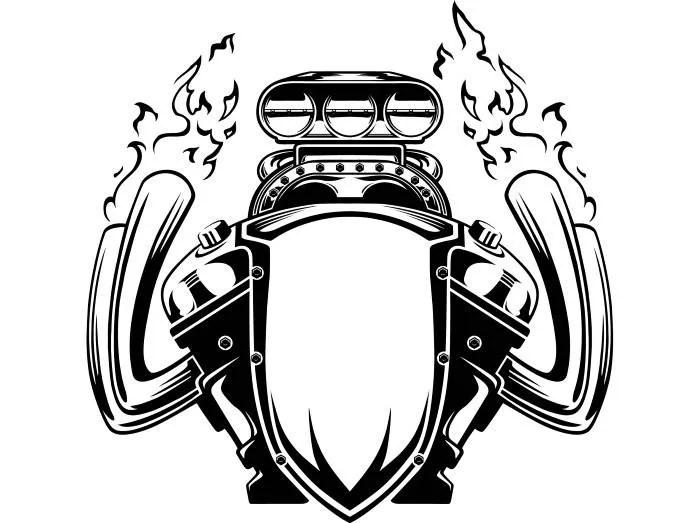 Engine #6 Motorcycle Car Automotive Flames Car Bike Biker