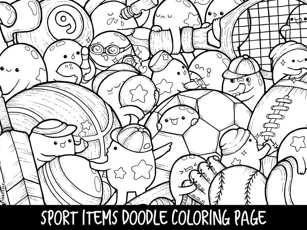 Foods Doodle Coloring Page Printable Cute/Kawaii Coloring