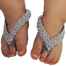 Baby Barefoot Sandals Silver Glitter Headband
