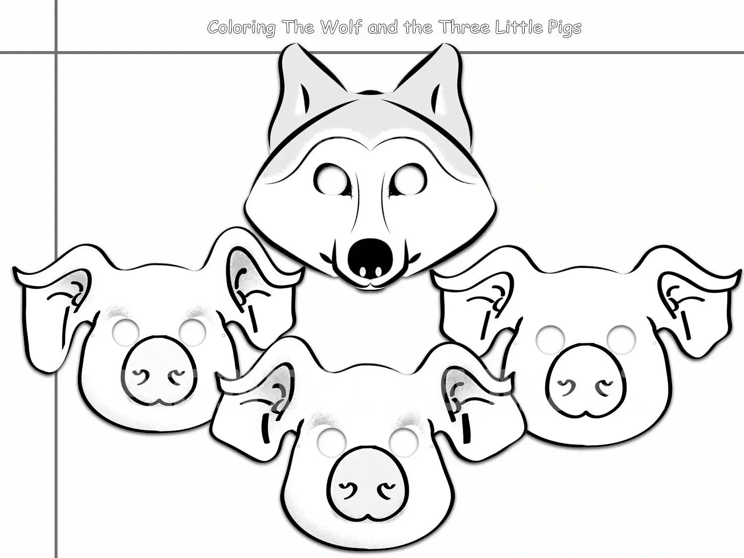 Coloring Pages Wolf and the Three Little Pigs Printable Black