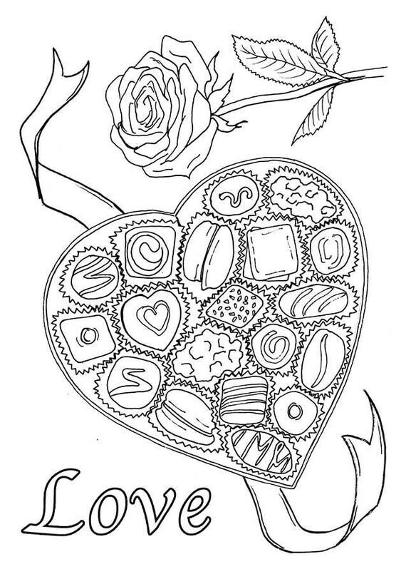 Valentine Chocolate Treats 6 Coloring Cards with Envelopes