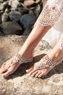 Rose Gold Wedding Barefoot Sandals
