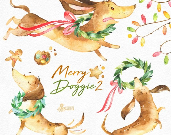 merry doggie 2. christmas watercolor