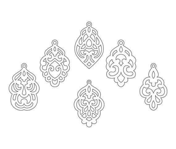 Set Ornamental Pendant templates, vector Cutting File