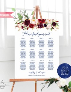 Il xn also printable burgundy floral navy blue font seating chart board rh catchmyparty
