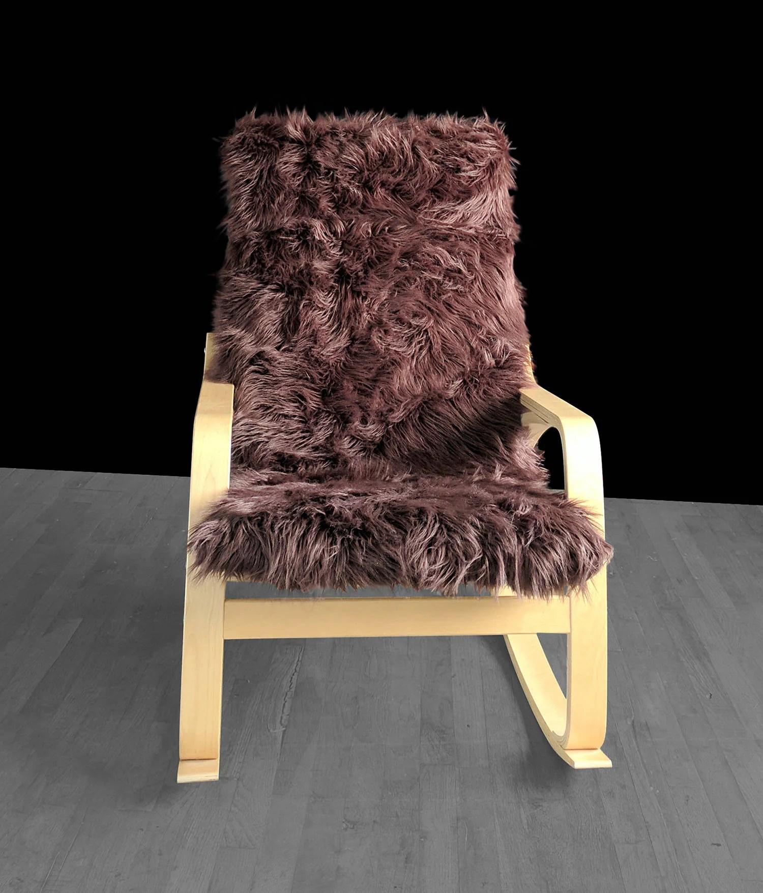 fur chair cover old cast iron garden chairs brown ikea poÄng cushion slipcover custom