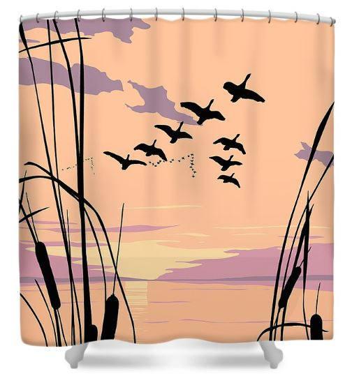 tropical bird pop art shower curtains, ducks flying sunset, retro