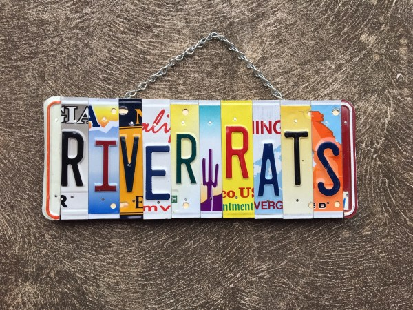River Rats. License Plate Art. Sign. Cabin Decor. Outdoor