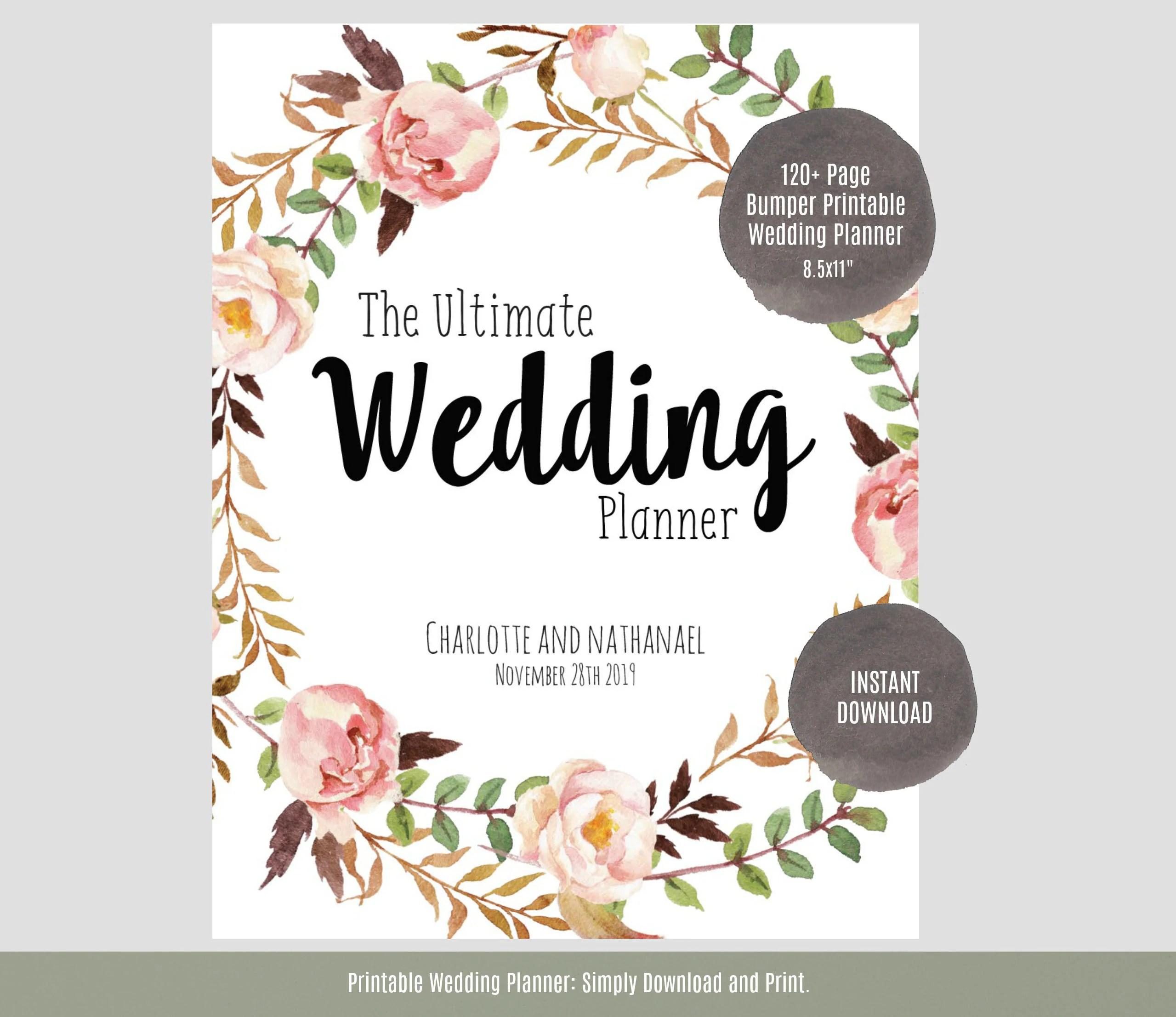 Wedding Planner Printable Wedding Planner Wedding Binder
