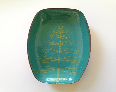 Copper enamel fern dish...