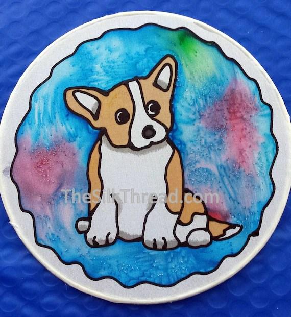 "Cute Corgi Silk Suncatcher, Whimsical Cardigan Hand Painted, 6"" Diameter Sun Catcher, Stained Glass Look, Dog Art, Wall Decor by artist"